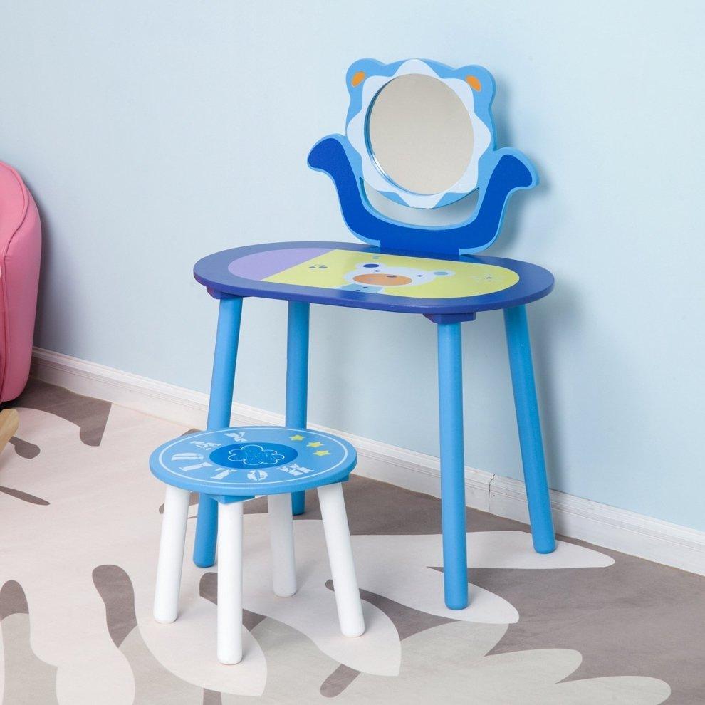 Homcom Kids Dressing Table Amp Stool Children S Vanity