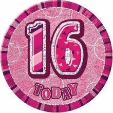 Age 16 Birthday Badge Pink Glitz