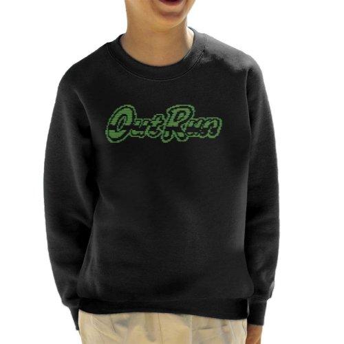 Outrun Retro 80s Green Monochrome Logo Kid's Sweatshirt