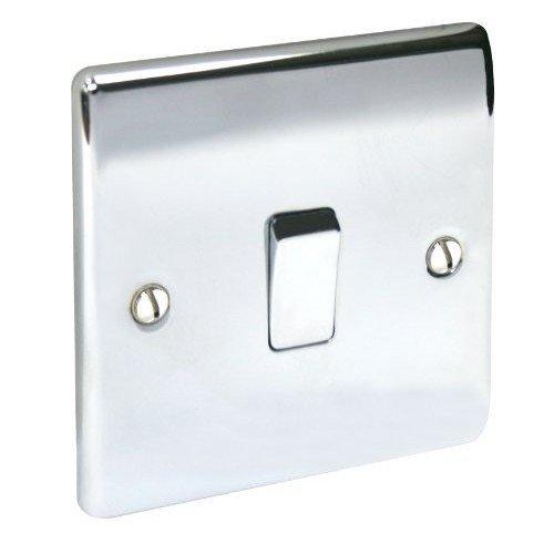 BG Electrical NPC13 Nexus Metal Polished Chrome 1 Gang 10Ax Intermediate Plate Switch
