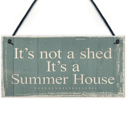 RED OCEAN It's Not A Shed, It's A Summer House Novelty Chic Plaque Hanging Garden Shed Sign Birthday Friendship Gift