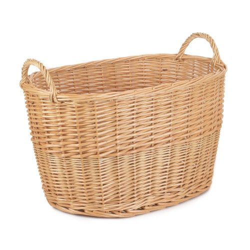 Unlined Large Oval Buff Wicker Storage Basket