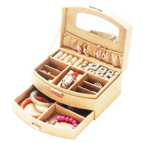 Portable Stylish Jewelry Box Ornaments Storage Boxes Jewelry Organizer -Beige