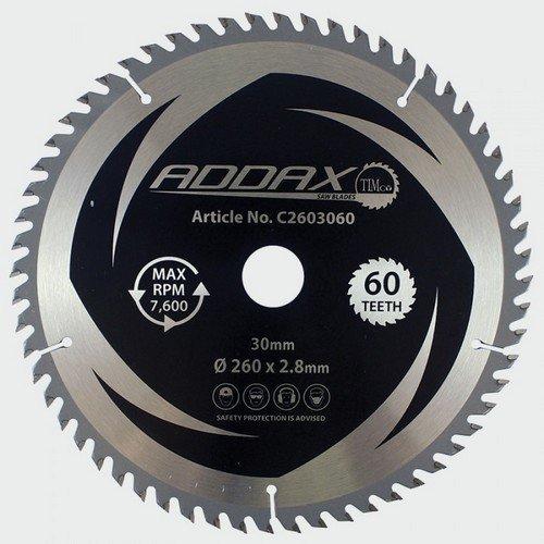 Addax C2603060 TCT Circular Saw Blade 260 x 30 x 60T