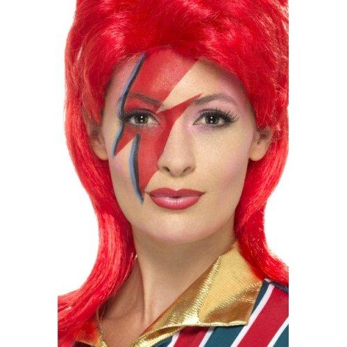 Space Superstar Make Up Kit - Mens Ladies David Bowie 80s Fancy Dress Make Wig -  mens ladies david bowie 80s fancy dress makeup wig adult space