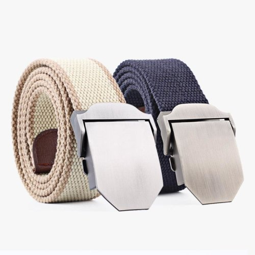 Badinka 2018 New Men Canvas Tactical Belt Male Casual Outdoor Woven Knitted Strip Belt Top Quality Nylon Automatic Buckle Belts