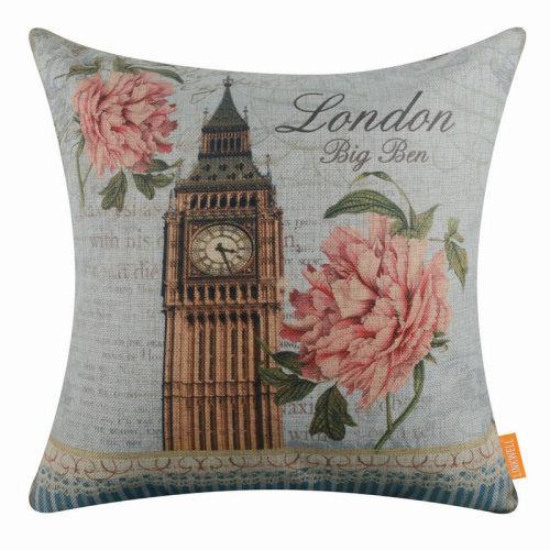 "18""x18"" London Big Ben Burlap Pillow Cover Cushion Cover"