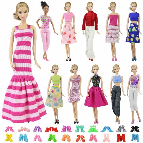 ZITA ELEMENT 5 Fashion Clothes Dress & 5 Shoes for 11.5 Inch Dolls | Shirt Trousers Skirt Gown - Random Style Casual Wear Outfits and Accessories