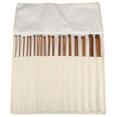 H&S® Set of 36 Pcs Single Pointed Bamboo Knitting Needles Case 2mm - 10mm