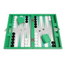 Silverman Green Board Backgammon Set, 13-Inch