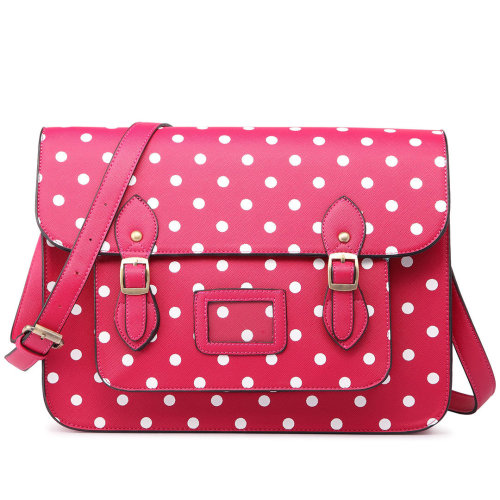Miss Lulu School Bag Cross Body Messenger Shoulder Satchel PU Leather Polka Dots Pink