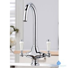 Chrome Monobloc Mixer Tap | Ceramic Twin Lever Kitchen Tap