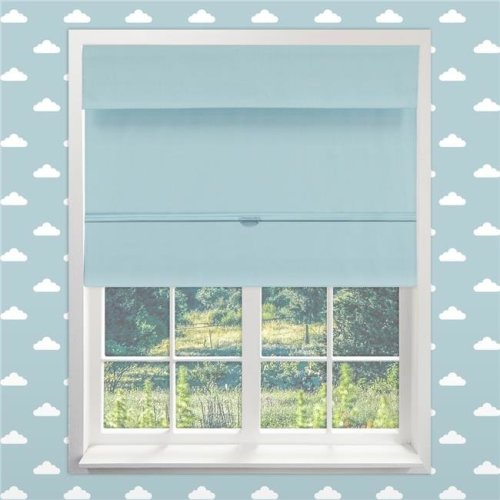 64 x 33 in. Kids Cordless Magnetic Roman Shade - Baby Blue