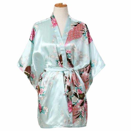 Light Blue-Women s Silk-like Pajamas Short Bathrobe Kimono Robe Peacock  Blossoms on OnBuy 42557fcb8