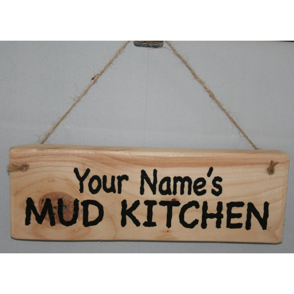 Personalised mud kitchen plaque sign hanging garden toys on onbuy