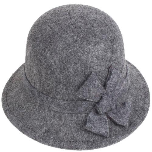 Women's Felt Elegant Church Cloche Hat Bowler Hat Bucket Hat Winter Hat,Bow,Gray