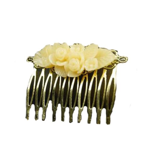 Classical Style Hair Comb Metal Yellow Flower Hair Decor Chic Hair Comb
