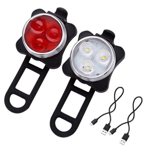 AMANKA Rechargeable LED Bike Lights Set - Headlight Taillight Combinations LED Bicycle Light Set (650mah Lithium Battery, 4 Light Mode Options, 2...