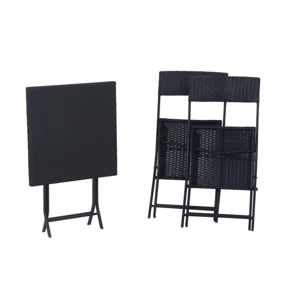 outsunny black rattan garden bistro set 2 seater table chair set