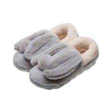Cute Cartoon Rabbit Plush Slippers Winter Warm Indoor Slippers for Women, GREY