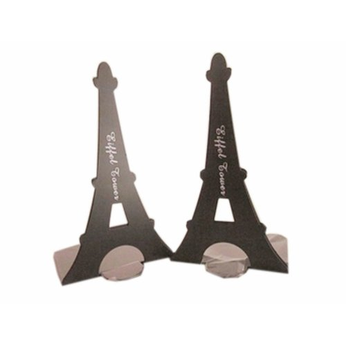 Set of Two Paris Tower & London Tower Iron Tower Nonskid Bookends Black