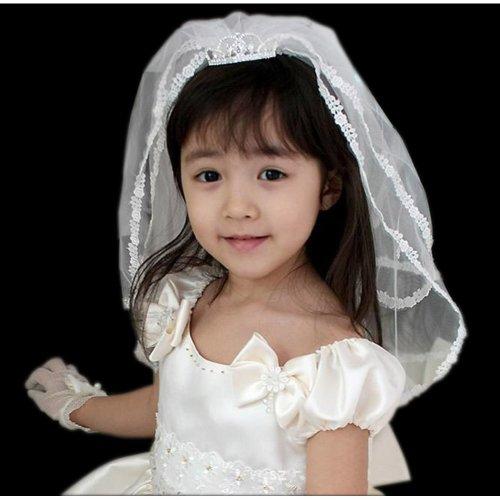 Sweet Heart White Floret Lace Edge Flower Girl Wedding Veil+Crown