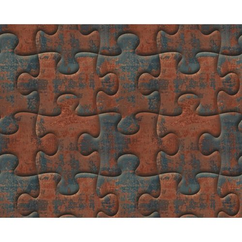 AS Creation Jigsaw Pattern Wallpaper Metal Motif Faux Effect Puzzle Textured[BROWN 327031]