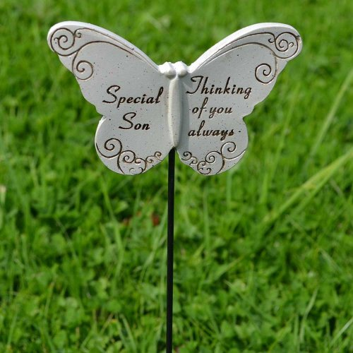Thinking of Special Son Butterfly Memorial Tribute Stick Graveside Plaque