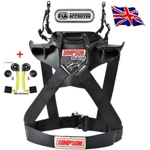 Simpson Hybrid Sport Harness Restraint Duel End Tethers M61 Qr Sfi Fia Adult Hans Med