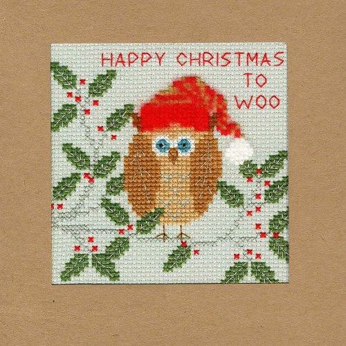 Bothy Threads Cross Stitch Kit - Christmas cards :   XMAS OWL XMAS11
