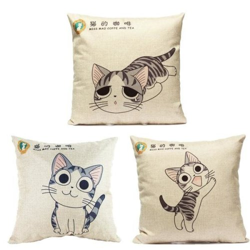 Linen Cartoon Cat Throw Pillow Case Car Cushion Cover Decorative