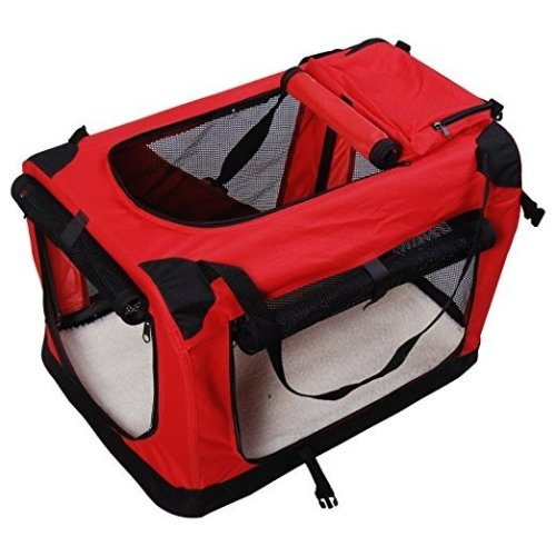 PawHut Red & Black Fabric Dog Crate | Foldable Pet Carrier