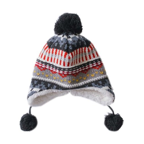 Warm Hat Knitted Hat Plus Velvet Ear Protection Hat Multicolor Jacquard