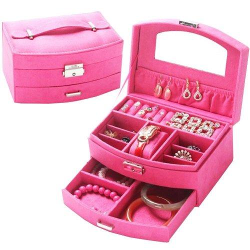 Portable Stylish Jewelry Box Ornaments Storage Boxes Jewelry Organizer -Rose
