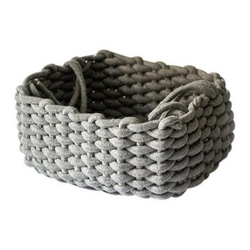 Hand-woven Thick Cotton Rope Basket Desktop Key Snacks Toys Storage Basket, Gray