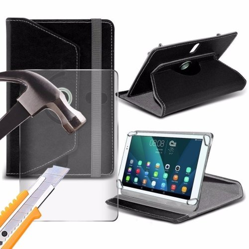 Itronixs - Allview Viva I7g ( 7 Inch ) Tablet Case Premium Pu 360 Rotating Leather Wallet with Tempered Glass Lcd Screen Protector Guard