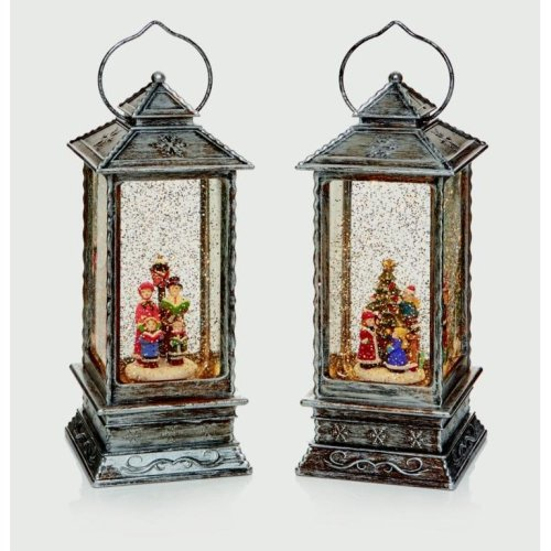 Xmas White LED Water Filled Glitter Snowing Lantern
