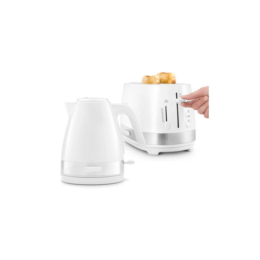 Delonghi Active Line Kettle & 2 Slot Toaster Set White
