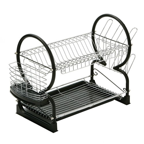 2 Tier Dish Drainer with Drip Tray - Black