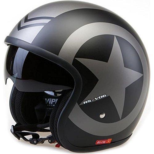 Viper RS-V06 Matt Black Star Open Face Motorcycle Helmet