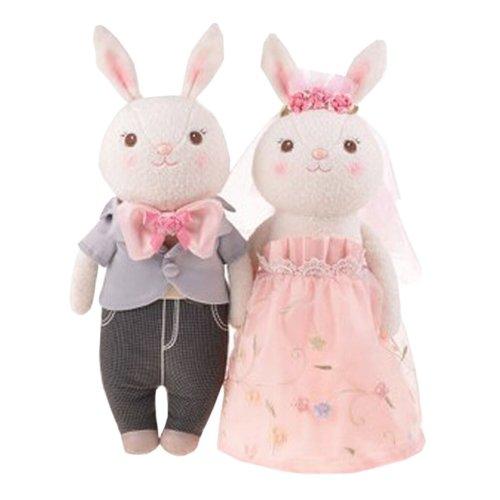Plush Doll for Kid Rabbit Plush Toy Stuffed Plush Pink Rose Wedding Gift (H)38CM