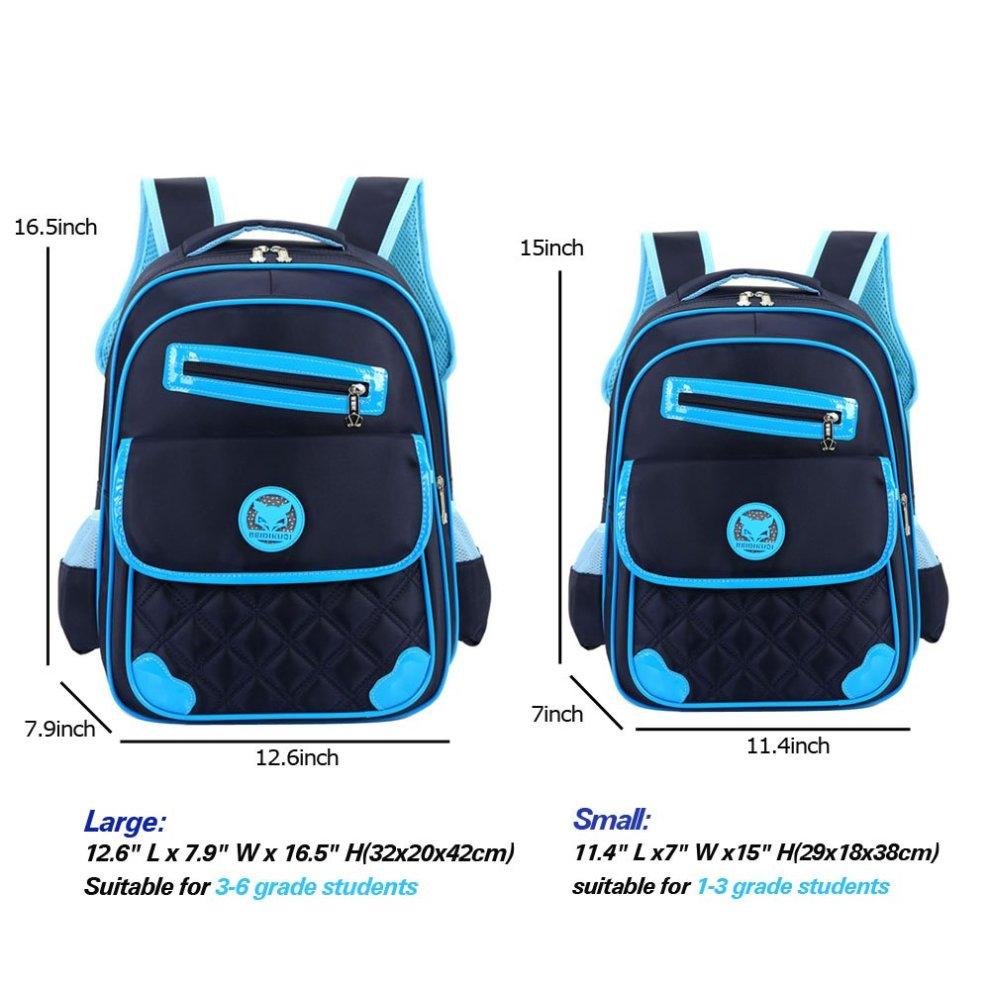 be143c405e3b ... Uniui Primary School Bag Dark Blue Backpack for 6-12 Years Old Girls  Boys Waterproof ...