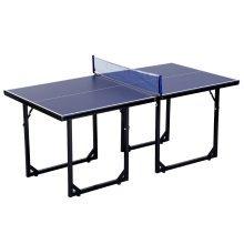 HOMCOM Folding Mini Table Tennis/Ping Pong Table Set-Black/Blue