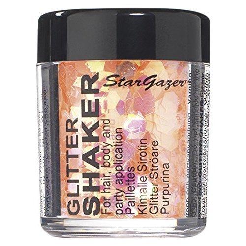 Stargazer Chunky Glitter Shaker, UV Orange. Cosmetic glitter for use on the eyes, lips, face, body, hair and nails.