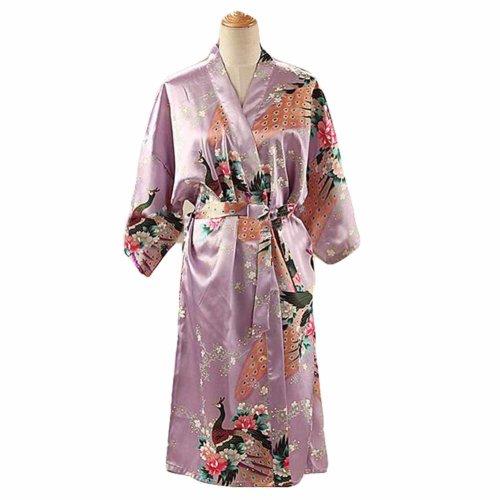dd6d869cff Lilac - Peacock Blossoms Women s Long Bathrobe Kimono Robe Silk-like  Pajamas on OnBuy