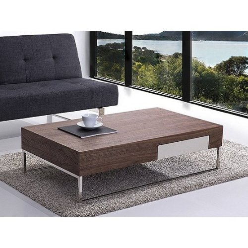 Modern Coffee Table in Walnut with Aluminum Frame - GUARDA