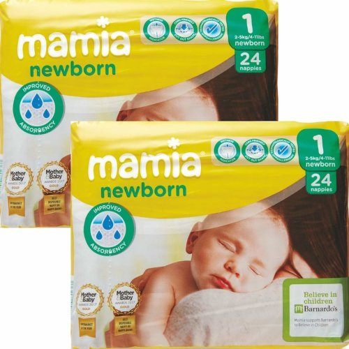 ALDI Mamia Newborn Nappies, Size 1, 2 x Packs of 24 (48 Nappies)