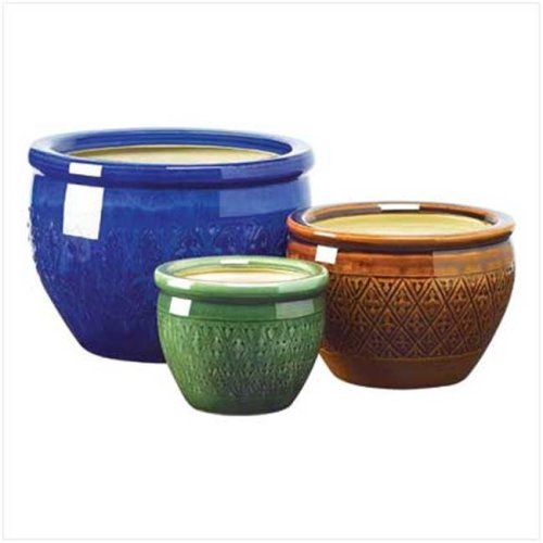 Eastwind Gifts 38899 Jewel-Tone Flower Pot Trio