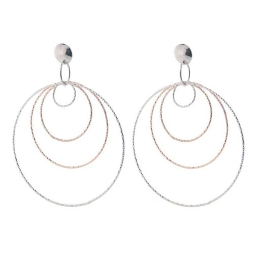 1d1b9efd3 Fronay 125122P Diamond Cut Concentric Hoop Earrings in Sterling Silver &  Pink Rhodium on OnBuy