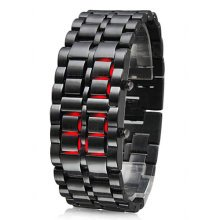 TRIXES Modern LED Digital Lava Faceless Samurai S/Steel Bracelet Wrist Watch